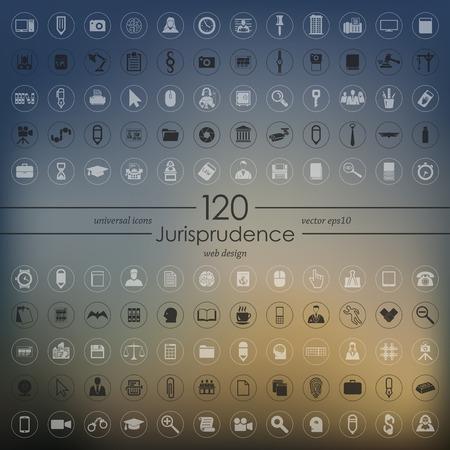 Set of jurisprudence icons Vector