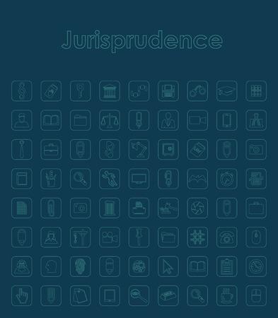jurisprudencia: Conjunto de iconos simples jurisprudencia Vectores