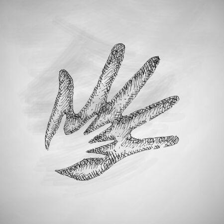 conjugal: hand, family icon Illustration
