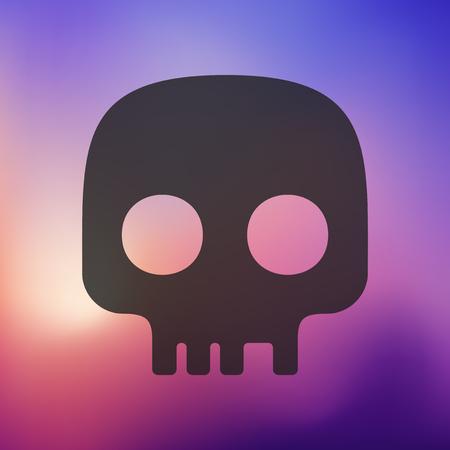 skull icon: skull icon on blurred background