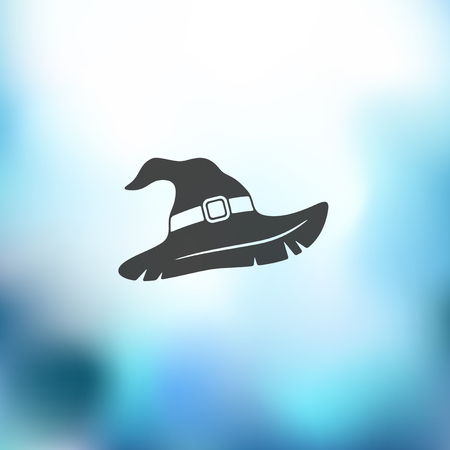 fashion story: witch hat icon on blurred background