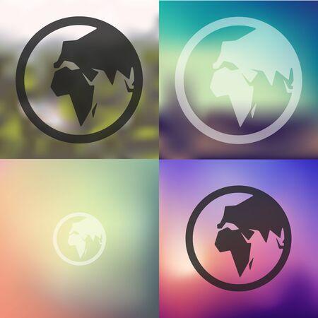 revolves: globe icon on blurred background Illustration