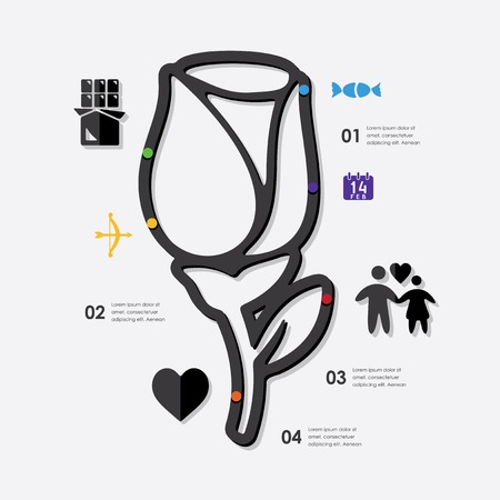 inclination: Valentines Day infographic Illustration
