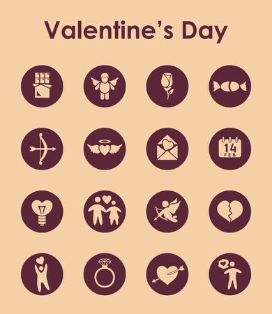 inclination: Set of Valentines Day simple icons