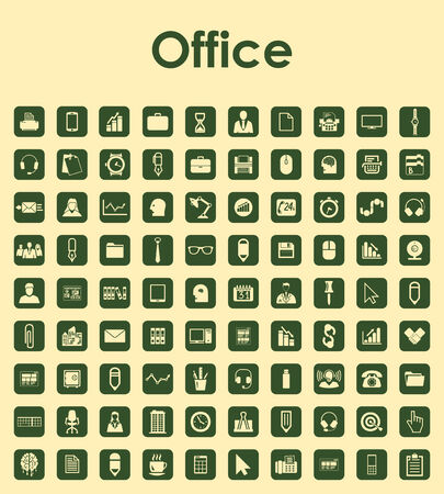urbanization: Set of office simple icons