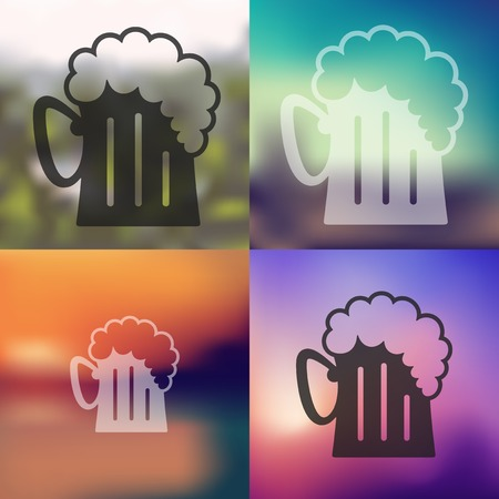 beer icon on blurred background