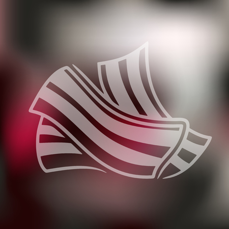 bacon strips: bacon icon on blurred background