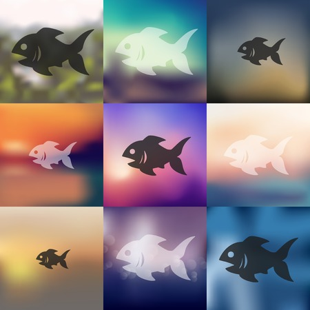 gills: fish icon on blurred background