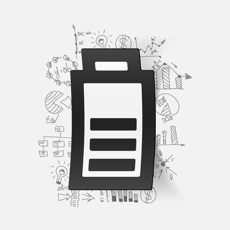 lading: tekenen zakelijke formules. de batterij opladen Stock Illustratie