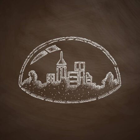 urbanization: domed city icon