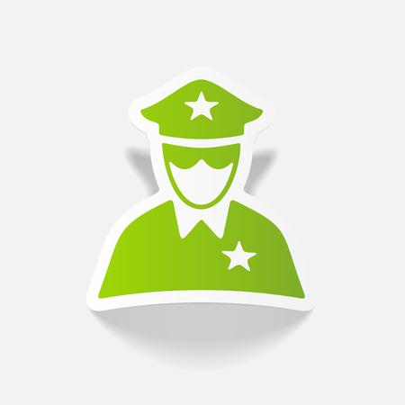 safety officer: realistic design element. police officer Illustration