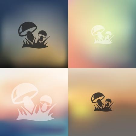 mushrooms icon on blurred background