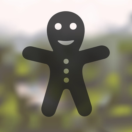 gingerbread man: gingerbread man icon on blurred background Illustration