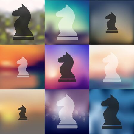shah: chess icon on blurred background