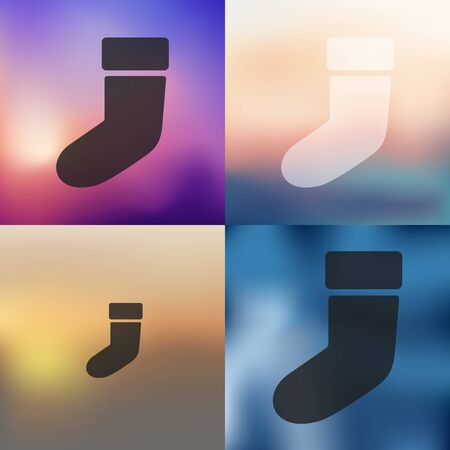 christmas sock: christmas sock icon on blurred background Illustration