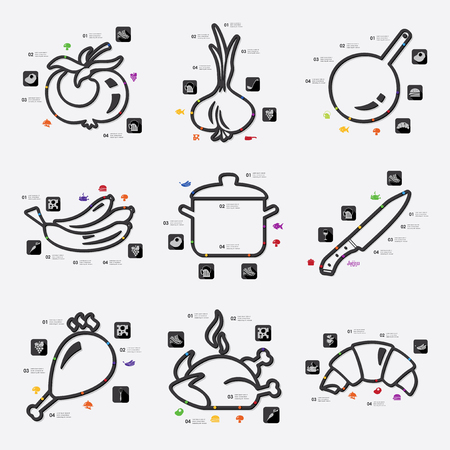 learning to cook: restaurant infographic Illustration