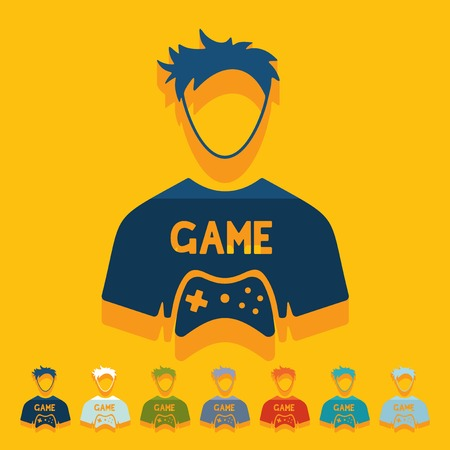 Flat design: gamer Çizim