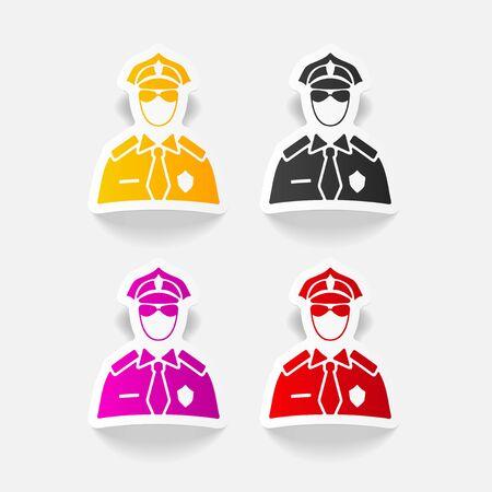 policier: réaliste élément de design. officier de police Illustration