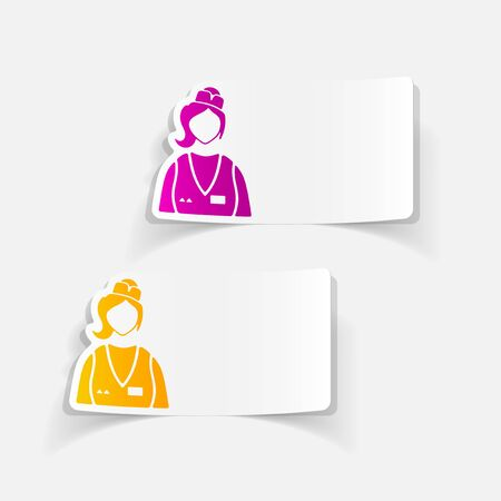 speciality: realistic design element. saleswoman Illustration