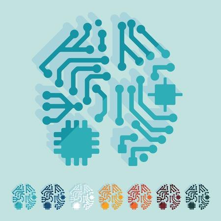 artificial intelligence: Flat design: artificial intelligence