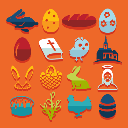 church service: Set of easter icons