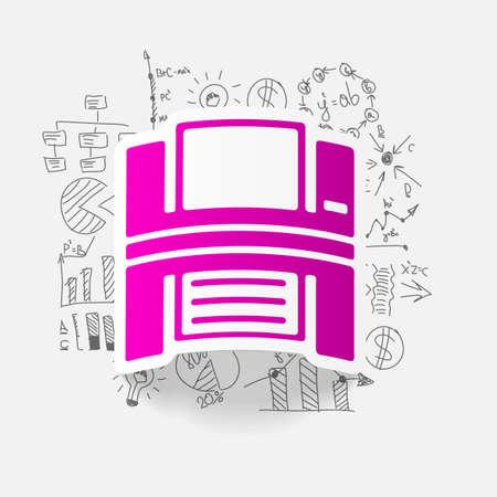 printer drawing: drawing business formulas. printer Illustration