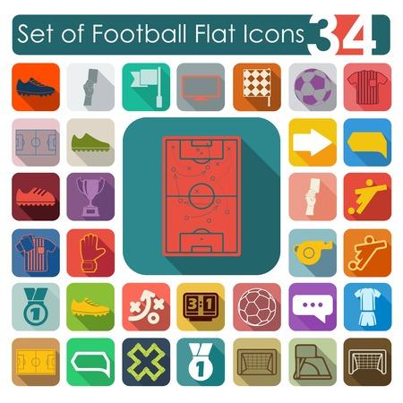 sideline: Conjunto de iconos planos del f�tbol