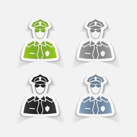officier de police: r�aliste �l�ment de design. officier de police Illustration