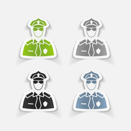 police icon: realistic design element. police officer Illustration