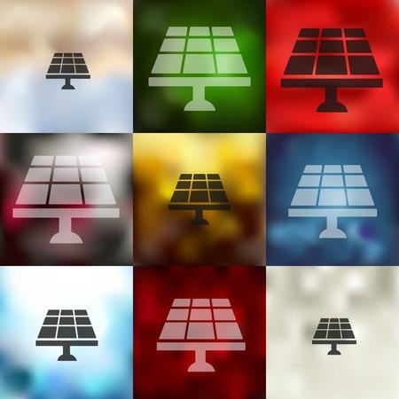 solar battery: solar battery icon on blurred background Illustration