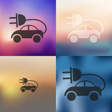 ecologist: eco car icon on blurred background