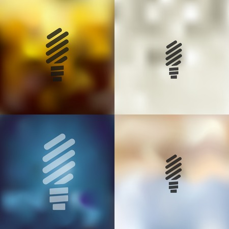 environmental analysis: fluorescent light bulb icon on blurred background
