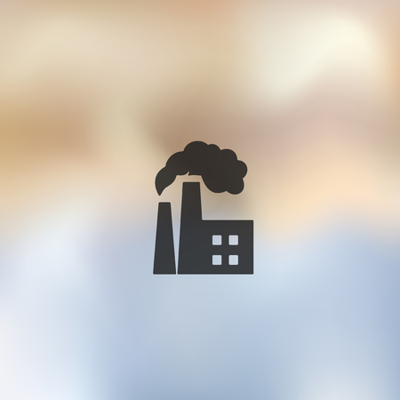 environmental analysis: factory pipes icon on blurred background Illustration