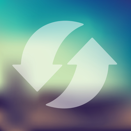 space rubbish: arrow recycling icon on blurred background