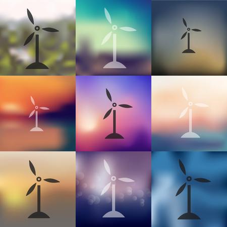 wind turbines: wind turbines icon on blurred background