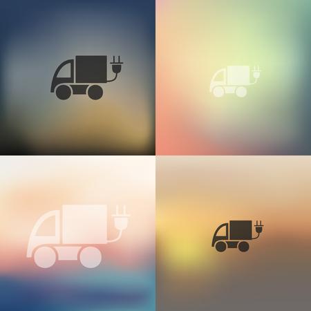 eco car: icono de coche ecol�gico en fondo borroso