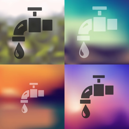 water tap: water tap icon on blurred background Illustration
