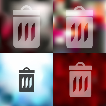 trash can: trash can icon on blurred background Illustration