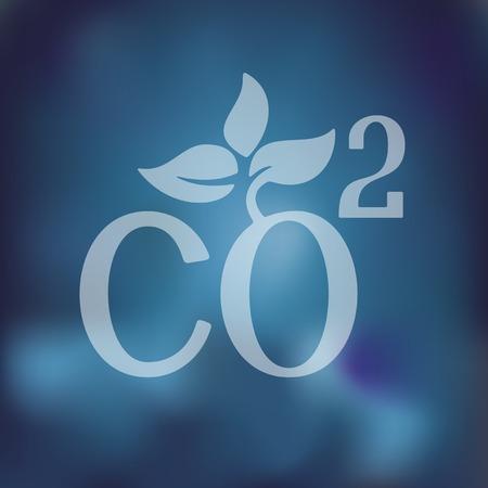 co2 teken dioxide pictogram op onscherpe achtergrond