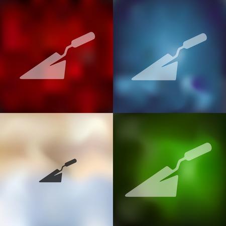 trowel: trowel icon on blurred background