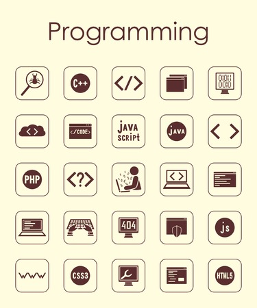 software icon: Set of programming simple icons