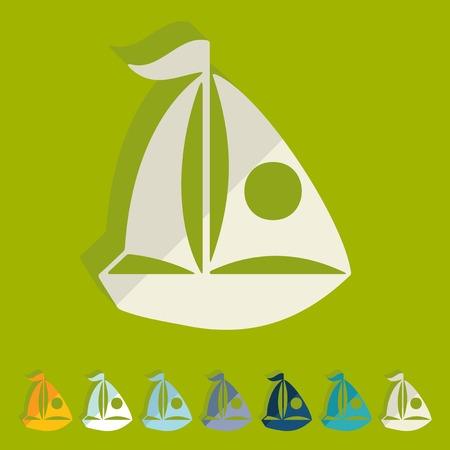 telephone mast: Flat design. sailing boats Illustration