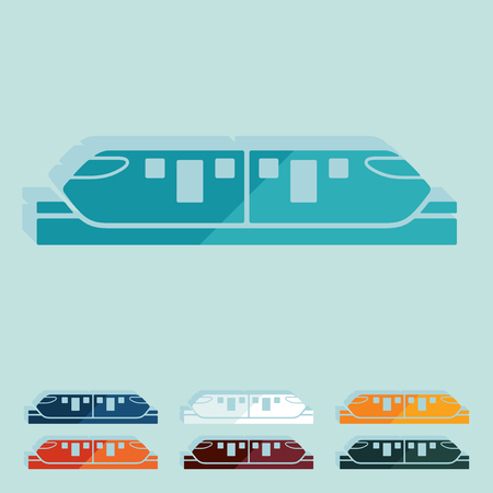 monorail: Flat design. monorail train Illustration