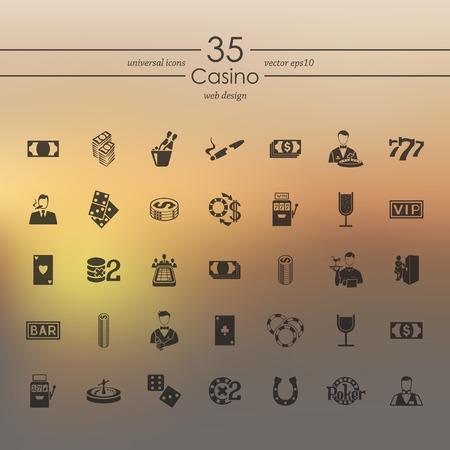 casino dealer: Set of casino icons Illustration