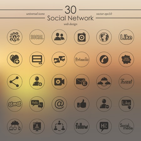 social networking service: Set of social network icons