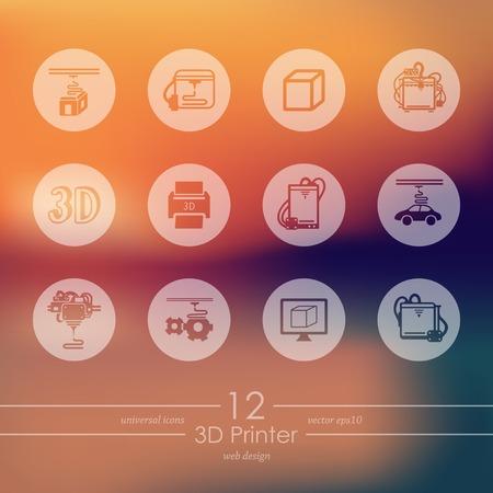 three d: Set di icone della stampante tre d Vettoriali