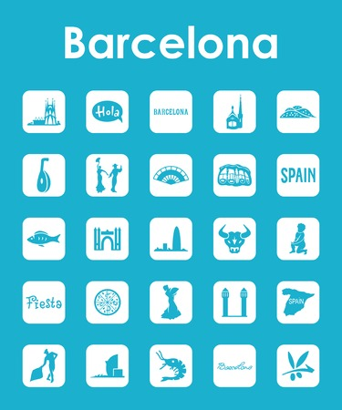 Set of Barcelona simple icons Illustration