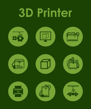 d: Set of three d printer simple icons
