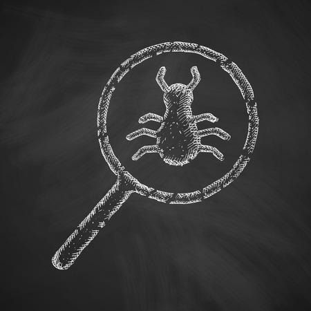 virus informatico: icono de análisis de virus