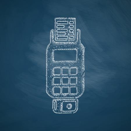 checkout line: POS terminal icon Illustration
